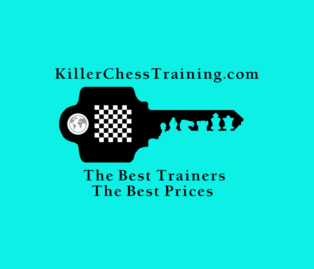 Killer Chess Training Logo<br>The image also contains the slogan Killer Chess Training - The best Trainers - The Best prices