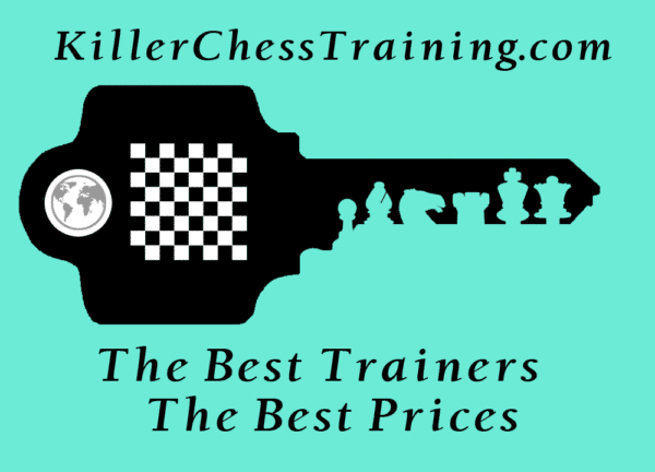 killer chess training logo with the inscription of the best chess trainers the best prices. Monthly membership. Yearly membeship. Chess training.